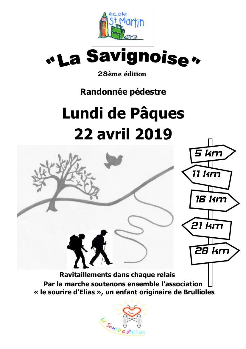 Randonné pédestre La Savignoise Lundi 22 avril 2019 Savigny 69